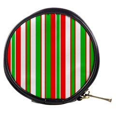 Christmas Holiday Stripes Red green,white Mini Makeup Bags