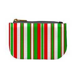 Christmas Holiday Stripes Red green,white Mini Coin Purses