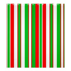 Christmas Holiday Stripes Red green,white Shower Curtain 66  x 72  (Large)