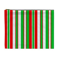 Christmas Holiday Stripes Red green,white Cosmetic Bag (XL)