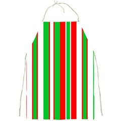 Christmas Holiday Stripes Red green,white Full Print Aprons