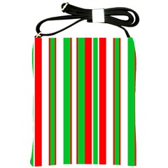 Christmas Holiday Stripes Red green,white Shoulder Sling Bags