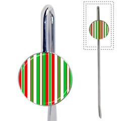 Christmas Holiday Stripes Red green,white Book Mark