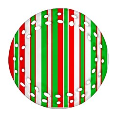 Christmas Holiday Stripes Red green,white Round Filigree Ornament (Two Sides)