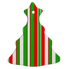 Christmas Holiday Stripes Red green,white Christmas Tree Ornament (Two Sides)
