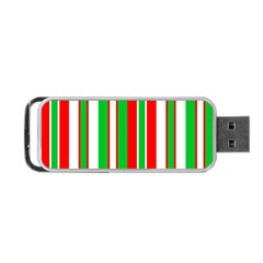 Christmas Holiday Stripes Red green,white Portable USB Flash (One Side)