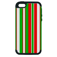 Christmas Holiday Stripes Red green,white Apple iPhone 5 Hardshell Case (PC+Silicone)