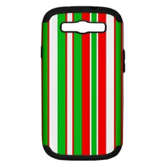 Christmas Holiday Stripes Red green,white Samsung Galaxy S III Hardshell Case (PC+Silicone)