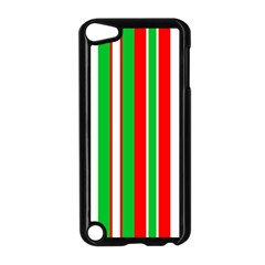 Christmas Holiday Stripes Red green,white Apple iPod Touch 5 Case (Black)