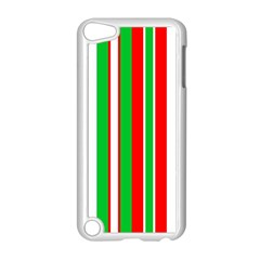 Christmas Holiday Stripes Red green,white Apple iPod Touch 5 Case (White)