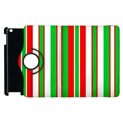 Christmas Holiday Stripes Red green,white Apple iPad 2 Flip 360 Case