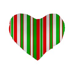 Christmas Holiday Stripes Red green,white Standard 16  Premium Heart Shape Cushions