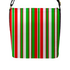 Christmas Holiday Stripes Red green,white Flap Messenger Bag (L)