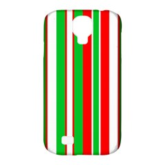 Christmas Holiday Stripes Red green,white Samsung Galaxy S4 Classic Hardshell Case (PC+Silicone)