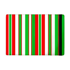 Christmas Holiday Stripes Red green,white iPad Mini 2 Flip Cases