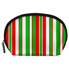 Christmas Holiday Stripes Red green,white Accessory Pouches (Large)