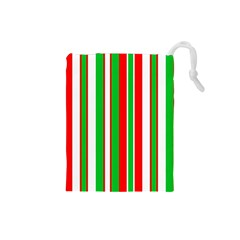 Christmas Holiday Stripes Red green,white Drawstring Pouches (Small)