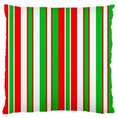 Christmas Holiday Stripes Red green,white Large Flano Cushion Case (Two Sides)