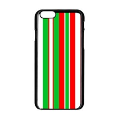 Christmas Holiday Stripes Red green,white Apple iPhone 6/6S Black Enamel Case