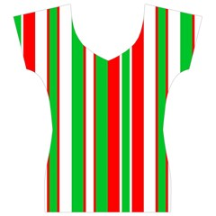 Christmas Holiday Stripes Red green,white Women s V-Neck Cap Sleeve Top
