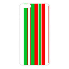 Christmas Holiday Stripes Red green,white Apple Seamless iPhone 6 Plus/6S Plus Case (Transparent)