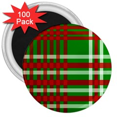 Christmas Colors Red Green White 3  Magnets (100 pack)