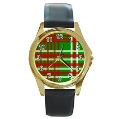 Christmas Colors Red Green White Round Gold Metal Watch