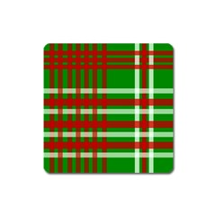 Christmas Colors Red Green White Square Magnet