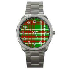 Christmas Colors Red Green White Sport Metal Watch