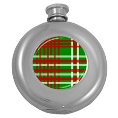 Christmas Colors Red Green White Round Hip Flask (5 oz)