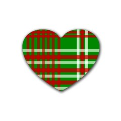Christmas Colors Red Green White Heart Coaster (4 pack)