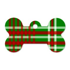 Christmas Colors Red Green White Dog Tag Bone (One Side)