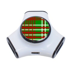 Christmas Colors Red Green White 3-Port USB Hub