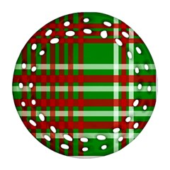 Christmas Colors Red Green White Ornament (Round Filigree)