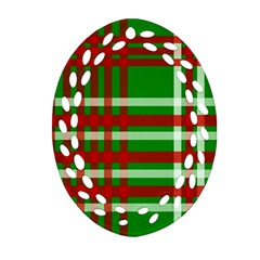 Christmas Colors Red Green White Oval Filigree Ornament (Two Sides)