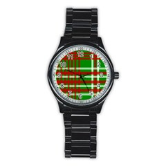 Christmas Colors Red Green White Stainless Steel Round Watch