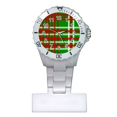 Christmas Colors Red Green White Plastic Nurses Watch