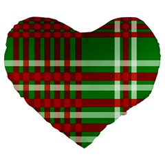 Christmas Colors Red Green White Large 19  Premium Flano Heart Shape Cushions