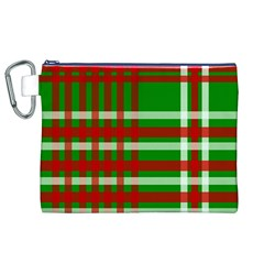 Christmas Colors Red Green White Canvas Cosmetic Bag (XL)
