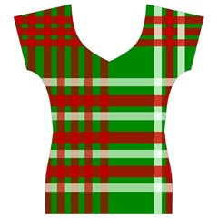 Christmas Colors Red Green White Women s V-Neck Cap Sleeve Top