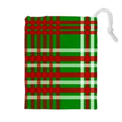 Christmas Colors Red Green White Drawstring Pouches (Extra Large)