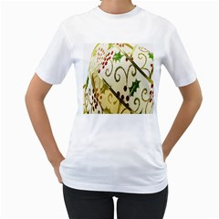 Christmas Ribbon Background Women s T-Shirt (White) (Two Sided)