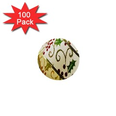 Christmas Ribbon Background 1  Mini Buttons (100 pack)
