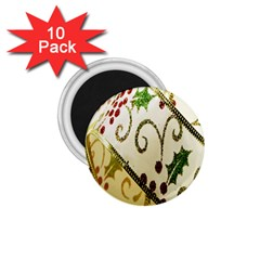 Christmas Ribbon Background 1.75  Magnets (10 pack)