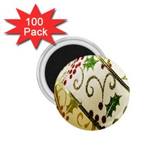 Christmas Ribbon Background 1.75  Magnets (100 pack)