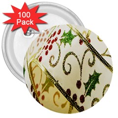 Christmas Ribbon Background 3  Buttons (100 pack)