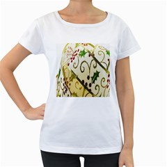 Christmas Ribbon Background Women s Loose-Fit T-Shirt (White)