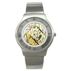 Christmas Ribbon Background Stainless Steel Watch