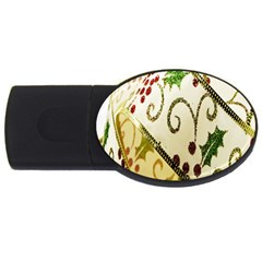 Christmas Ribbon Background USB Flash Drive Oval (4 GB)