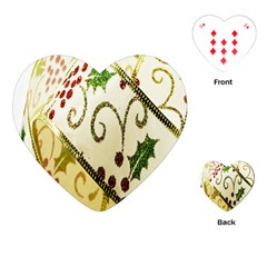 Christmas Ribbon Background Playing Cards (Heart)